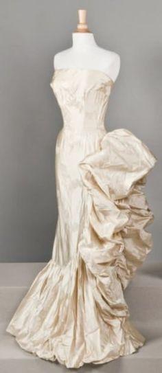Asymmetrical Silk Taffeta Evening Gown, ca. 1945-48 Maggy Rouff via Drouot