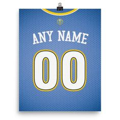 Denver Nuggets Jersey Poster - Print Personalized Select ANY Name & ANY Number