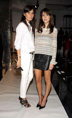 how to wear all white--with edgy black leather accessories. Emmanuelle Alt