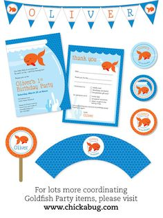 Items similar to Goldfish Party - Personalized DIY printable favor tags on Etsy 1st Birthday Parties, Boy Birthday, Birthday Ideas, Goldfish Party, Custom Birthday Invitations, Sesame Street Party, Party Items, Craft Party, Party Planning