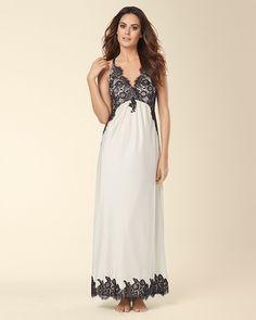 Soma Intimates Signature Satin Charmeuse Lace Nightgown Champagne #somaintimates My Soma Wish List Sweeps