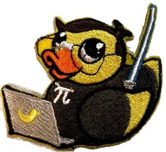 "Amazon.com: [Single Count] Custom and Unique (3"" x 2.7"" Inch) ""Technology"" Funny Techie Nerdy Rubber Ducky w/ Laptop Iron On Embroidered Applique Patch {Yellow, Orange, Black, & Grey Colors}"