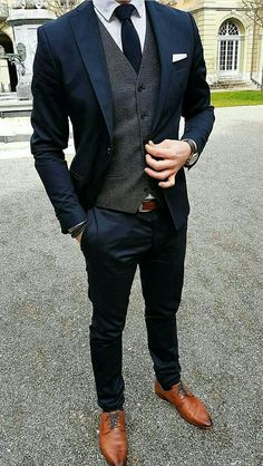 Weddings Discover Navy slim fit suit with grey waistcoat - Wedding suits groom - Mens Slim Fit Suits Slim Fit Tuxedo Tuxedo For Men Dark Blue Suit Navy Suit Brown Shoes Blue Grey Navy Grey Suit Mens Dark Grey Suit Men Wear Navy Slim Fit Suit, Tailored Suits, Mens Slim Fit Suits, Fitted Suits, Slim Fit Tuxedo, Dark Blue Suit, Blue Suit Men, Blue Grey, Man In Suit