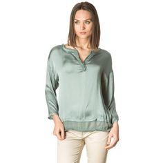 Green V neck silk Blouse