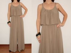 Wide Leg Jumpsuit Palazzo Pants in Taupe for Women