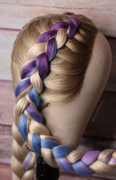 📽 Color braids This variation of color braid is better for long hair. 💙 # long Braids with extensions color braid extensions Braided Hairstyles, Cool Hairstyles, Braids With Extensions, Hair Extensions Tutorial, Colored Hair Extensions, Hair Upstyles, Hair Braider, Crazy Hair Days, Natural Hair Styles