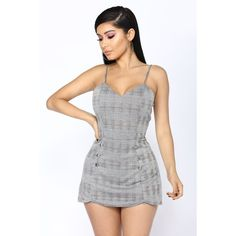 Worker Bee Plaid Romper Grey ($20) ❤ liked on Polyvore featuring jumpsuits, rompers, grey romper, plaid romper, skort romper, gray romper and plaid skort