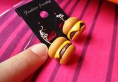 Can I haz cheezburger? Hamburger earrings handmade from polymer clay by at The Fairy Factoree: https://www.facebook.com/fairyfact?pnref=lhc