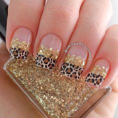 Glitter Gold Nails With Leopard Nails nails nail art gold nails glitter nails nail ideas nail designs leopard print nails nail pictures Get Nails, Fancy Nails, Love Nails, Hair And Nails, Edgy Nails, Fabulous Nails, Gorgeous Nails, Pretty Nails, Cute Nail Art