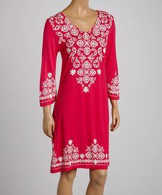 Look what I found on #zulily! Fuchsia & White Abstract V-Neck Dress #zulilyfinds