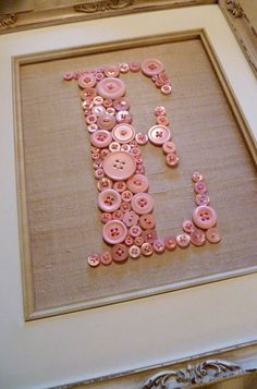 Personalized Vintage Style Nursery Letter Art -- Pink Buttons on Antique White Silk -- Ready To Frame in 8x10 Frame (frame not included).