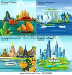 Asian travel 2x2 design concept with vietnam thailand singapore and malaysia colorful landscape compositions flat vector illustration