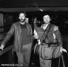 An poster sized print, approx (other products available) - Eric Clapton and Phil Collins at London& Heathrow Airport leaving for Antigua where they are to work on a new album together. - Image supplied by PA Images - Poster printed in the USA Phil Collins, In The Air Tonight, The Yardbirds, Blind Faith, Heathrow Airport, Progressive Rock, Jazz Musicians, Eric Clapton, London Photos