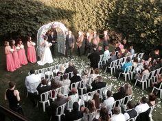 Picture taken on Veranda over looking Ceremony #themanorhouseatcommonwealth #outdoorceremony #gardens #bridalparty #wedding