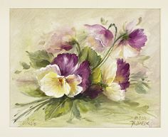 Pansy Painting Lesson. Downloadable Video and Pattern. Learn to Paint It Simply(http://www.jansenartstore.com/ms1005-pansies/)