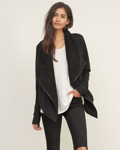 Womens Sherpa Non Closure Cardigan | Womens Sweaters | Abercrombie.com