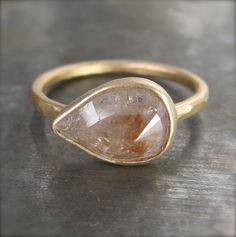 OOAK Large Rose Cut Silver and Peachy Red Diamond Ring in 14k Recycled Gold - 2.17 carats. $1,650.00, via Etsy.
