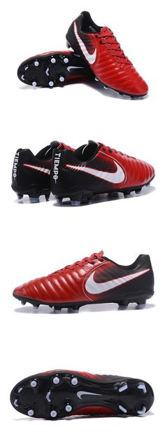 2e4f3f172f1 Nike Crampons de Foot Tiempo Legend 7 FG Cuir - Rouge Blanc Noir