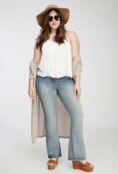 FOREVER 21+ Plus Size Whisker Wash Flared Jeans. From $27.90 to $16.99. Available size: 14,20.