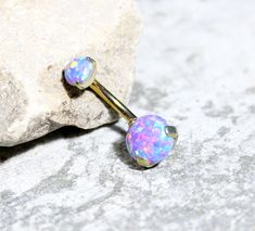 Very beautiful sparkling Gold Anodize prong set Purple Fire opal belly button ring Made with Implant Grade ASTM F-136 Titanium With Gold Anodize Opal