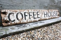 Coffee House  Rustic Distressed 3 Ft Wood Cafe Sign by TheUnpolishedBarn on Etsy https://www.etsy.com/listing/174221003/coffee-house-rustic-distressed-3-ft-wood