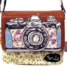 This adorable Ditsy Mini Bag is a stylish Ditsy Mini Satchel Bag has a fantastic camera illustration with the word 'Smile' on it, perfect! Camera Illustration, Disaster Designs, Cute Camera, Smile Word, Ditsy, Mini Bag, Really Cool Stuff, Coin Purse, Super Cute