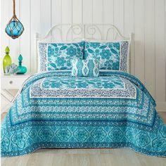 Aqua Flora Reversible Bohemian Quilt by Jessica Simpson Aqua Bedding, Ruffle Bedding, Linen Bedding, Bed Linens, Aqua Quilt, Quilt Bedding, Bohemian Quilt, Bohemian Decor, Coastal Bedrooms