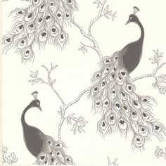 This stunning peacock wall covering has a glamorous edge with a silver or gold metallic ink used to highlight the plume and branches for a modern look. The sketched design gives an artistic flair. Mat