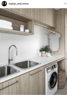 34 Fabulous Scandinavian Laundry Room Design Ideas - Its one of the most used rooms in the house but it never gets a makeover. What room is it? The laundry room. Almost every home has a laundry room and . Modern Laundry Rooms, Laundry Room Inspiration, Laundry Area, Hanging Rail, Laundry Room Design, Laundry Room Organization, Modern Minimalist, Storage Spaces, Living Room Designs