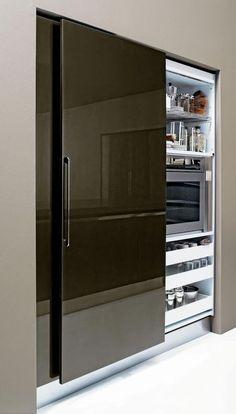 Modern Kitchen Design  : Sliding Pantry Door.