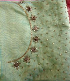 End Customization with Hand Embroidery & beautiful Zardosi Art by Expert & Experienced Artist That reflect in Blouse , Lehenga & Sarees Designer creativity that will sunshine You & your Party. Zardosi Embroidery, Embroidery On Kurtis, Kurti Embroidery Design, Embroidery Works, Embroidery Motifs, Embroidery Suits, Hand Embroidery Designs, Beaded Embroidery, Embroidery Materials