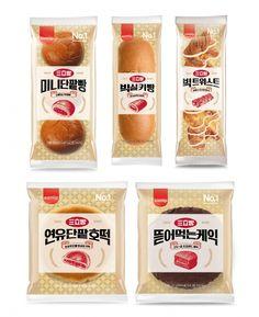 SPC삼립, '삼립빵(三立빵) 리메이크 시리즈' 출시 - Korea IT Times Dessert Packaging, Bakery Packaging, Food Packaging Design, Korean Food, Food Design, Package Design, Diet Recipes, Layout, Foods