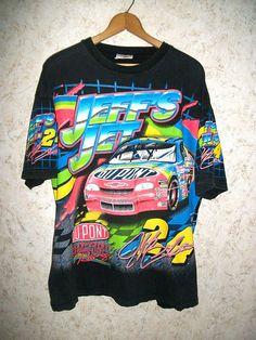 Rare 1997 Jeff Gordon All Over Print T Shirt Dupont Refinish Racing NASCAR Jeffs Jet 24 Crewneck Short Sleeve Hipster 90s Tee Unisex Mens XL