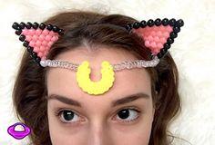 Luna Sailor Moon Kandi Cat Ears Headband Crescent by PlanetPLUR