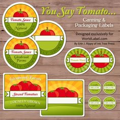 Tomato canning jar labels by Ink Tree Press are in fillable printable label templates. Editable: personalize with your own information. Use for  your special Tomato Sauce, Soups, Paste or any other Tomato based foods. These are really awesome. FREE download here: http://blog.worldlabel.com/2011/tomato-canning-jars-labels-for-your-farmers-market-stand.html