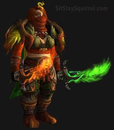 Fiery Red and Green Dwarf Monk Transmog WoW