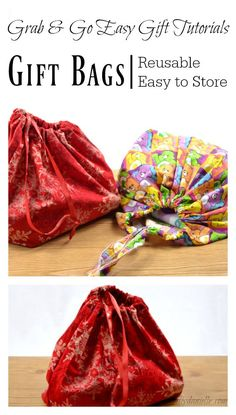 Fabric gift bags are reusable, washable, and easier to store than disposable wrapping paper! Learn how to sew them.