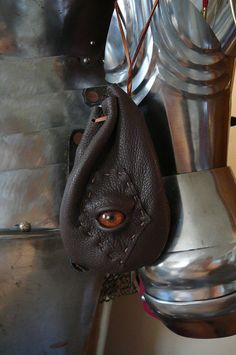 Zombie eye dice bag Chocolate brown leather by AbbotsHollowStudios, $20.95