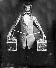 You are looking at a beautiful picture of Occupational portrait of a peddler, full-length, standing, facing front, with two bags held at his. Antique Photos, Vintage Photographs, Vintage Photos, Old Pictures, Old Photos, Victorian Life, Daguerreotype, People Photography, Art Photography