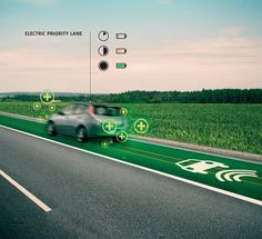 Priority lane for electric cars (including induction coils for wireless charging)