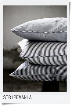 Striped pillows - love the contrast