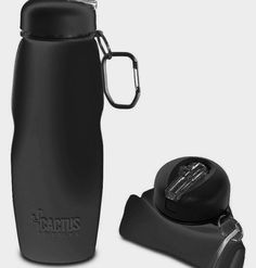Cactus Bottle – Silicone Collapsible Water Bottle (black)