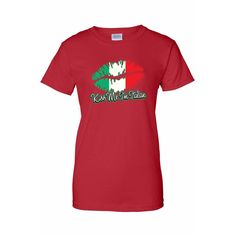 Women's Funny Kiss Me I'm Italian Italy Pride Juniors T-Shirt