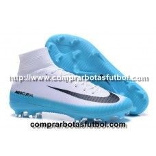 huge discount f72b9 62cad Botas De Futbol Nike Mercurial Superfly V FG Blanco Azul Negro Madrid