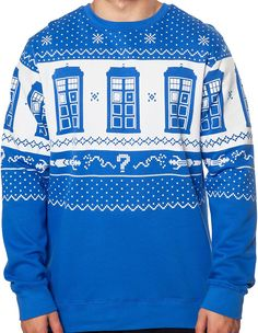 Amazon.com: Men's Tardis and Sonic Screwdriver Doctor Who Christmas Faux Sweater Blue Medium: Clothing