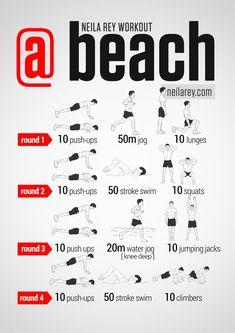 Neila Rey Beach Location Workout