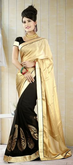 132686, Party Wear Sarees, Embroidered Sarees, Georgette, Machine Embroidery, Zari, Border, Thread, Gold, Black and Grey Color Family #Colorblock #gold #Partywear