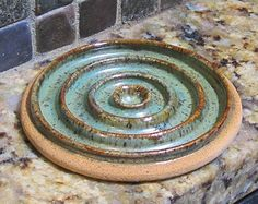 Pottery Soap Dish - Sage Green with Brown Accent