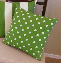 green polka dot toss pillow