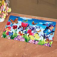 Colorful Butterfly Floral Bloom Doormat - 38429 Floor Runners, Collections Etc, Purple Iris, Pink Tulips, Doormat, Floor Rugs, Home Improvement, Bloom, Butterfly